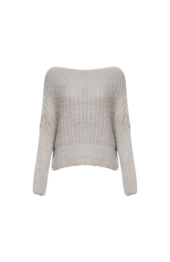 Boat Neck Fuzzy Knit Sweater Slide 1