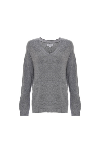 Velvet by Graham & Spencer V-Neck Soft Ribbed Sweater Slide 1
