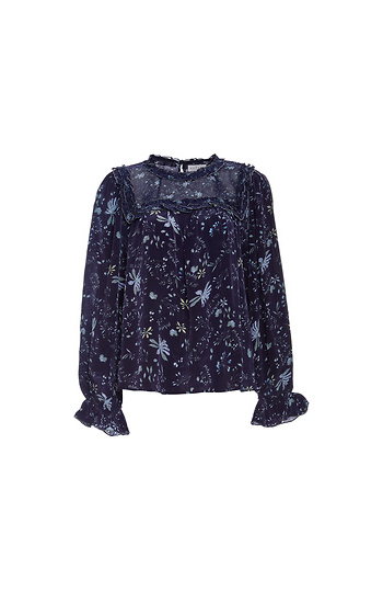 Velvet by Graham & Spencer Ruffle Printed Long Sleeve Top Slide 1