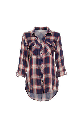 Button Up Two Pocket Plaid Shirt Slide 1