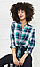 Front Tie Button Up Plaid Top Thumb 2