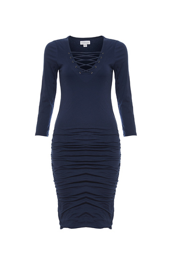 Velvet by Graham & Spencer Lace Up Front Bodycon Dress Slide 1