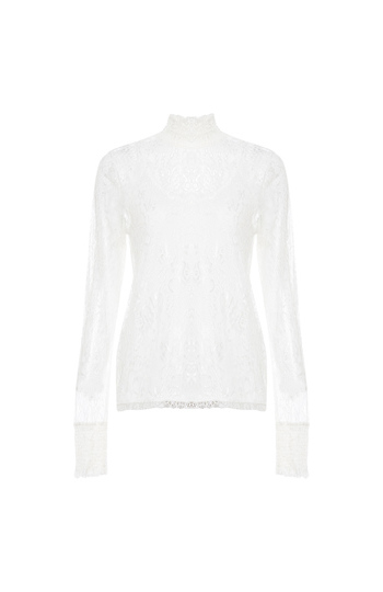 Vero Moda High Neck Lace Top Slide 1