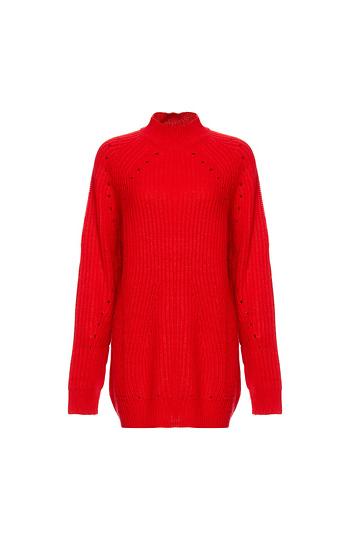 Vero Moda High Neck Ribbed Long Sweater Slide 1