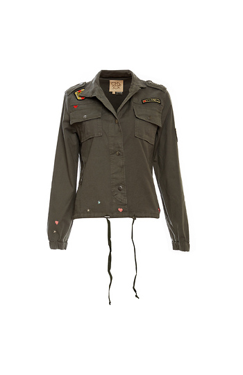 Chaser Vintage Canvas Military Jacket with Patches Slide 1