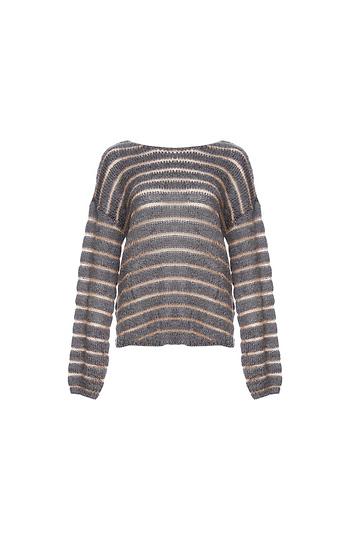 Mystree Striped Back Knot Sweater Slide 1