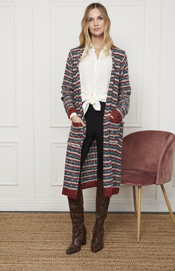 Mystree Striped Long Cardigan Slide 1