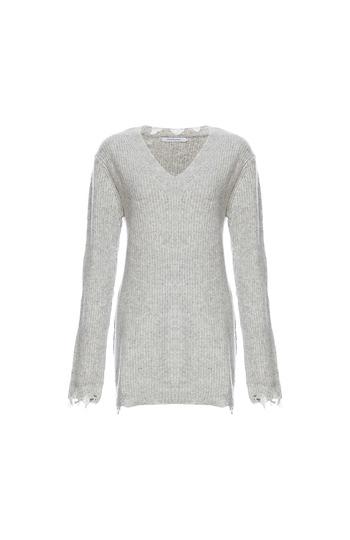 Stitches & Stripes V-Neck Ribbed Long Sweater Slide 1