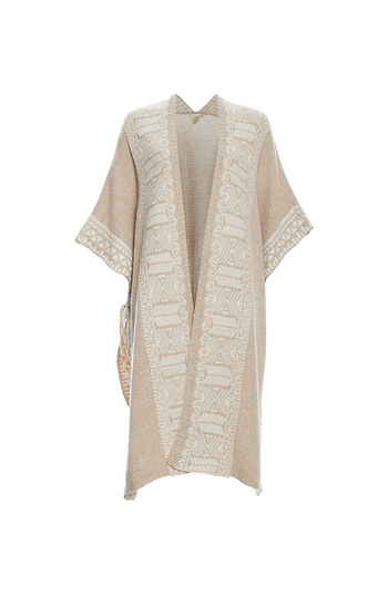 Mystree Printed Open Front Poncho Slide 1