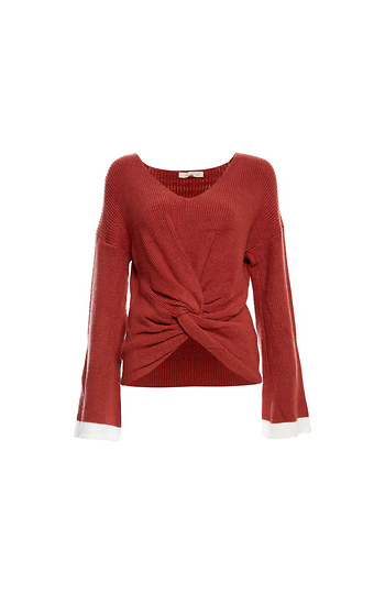 Front Knot Contrast Cuffs Sweater Slide 1