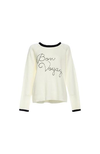 Contrast Hem 'Bon Voyage' Sweater Slide 1