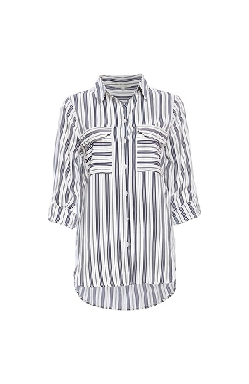 Double Pocket Striped Button Up Slide 1