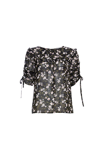 Sheer Floral Ruffled Bib Top Slide 1