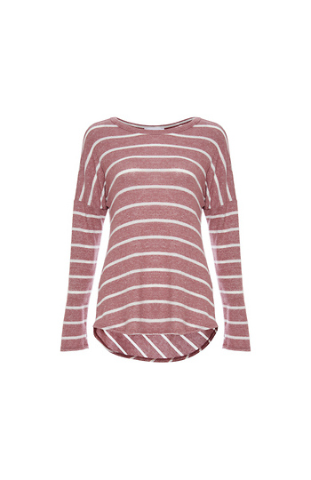 Round Neck Long Sleeve Striped Hi-Low Top Slide 1