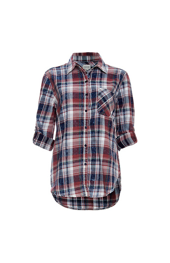 Button Up Single Pocket Plaid Shirt Slide 1
