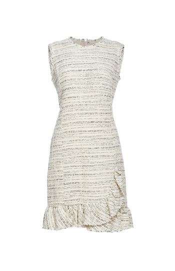 Rebecca Taylor Sleeveless Tweed Ruffle Dress Slide 1