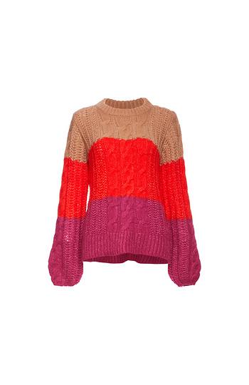 Vero Moda Round Neck Color Block Cable Sweater Slide 1