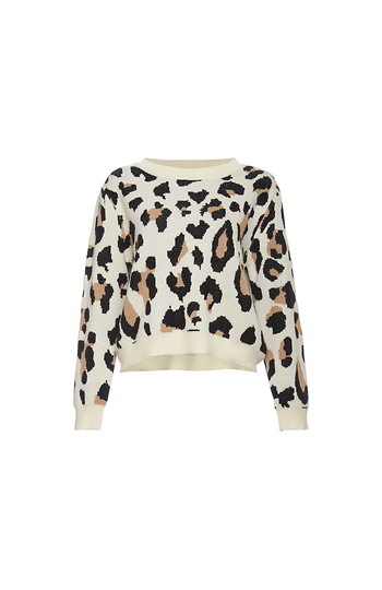 Leopard Print Crew Neck Sweater Slide 1