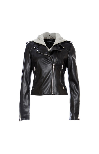 Faux Leather Moto Jacket Slide 1