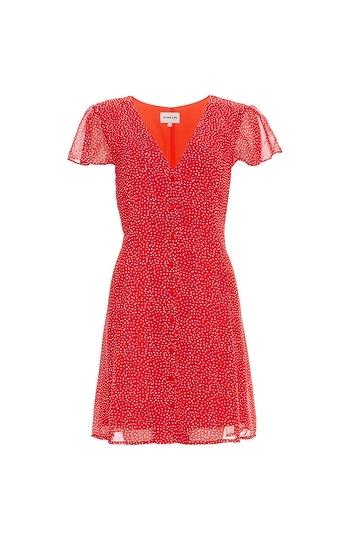 Buttoned Front Polka Dot Dress Slide 1