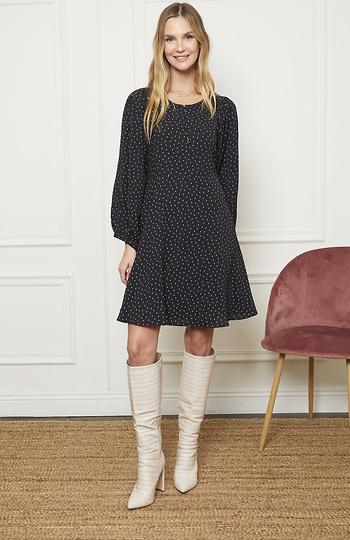 Mystree Round Neck Bishop Sleeves Dress Slide 1