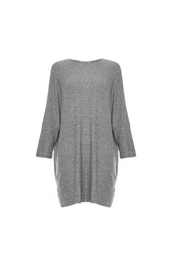 Round Neck Heather Knit Tunic Slide 1
