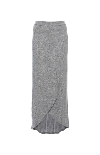 Tulip Hem Knit Midi Skirt Slide 1