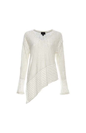 V-Neck Asymmetrical Long Sleeve Top Slide 1