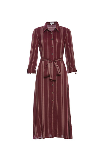 Pinstripe Tie Waist Shirtdress Slide 1