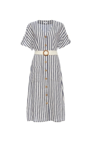 Short Sleeve Striped Button Up Dress Slide 1