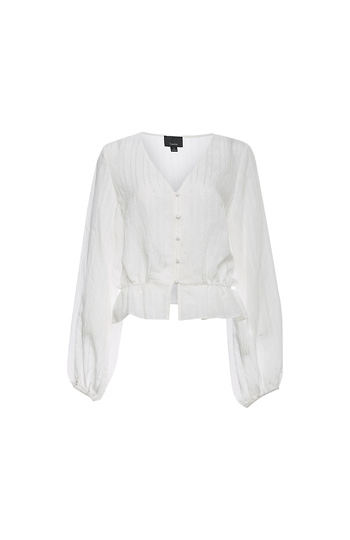 Buttoned Front Blouson Sleeves Top Slide 1