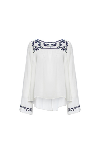 Flare Sleeve Embroidered Blouse Slide 1