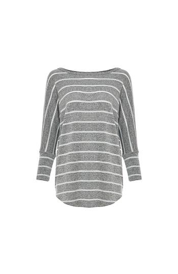 3/4 Striped Dolman Sleeve Knit Top Slide 1
