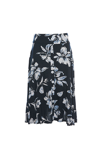 Floral Button Down A-line Skirt Slide 1