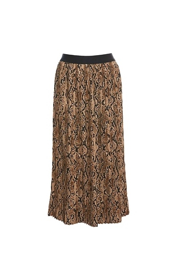 Pleated Snake Print Skirt Slide 1