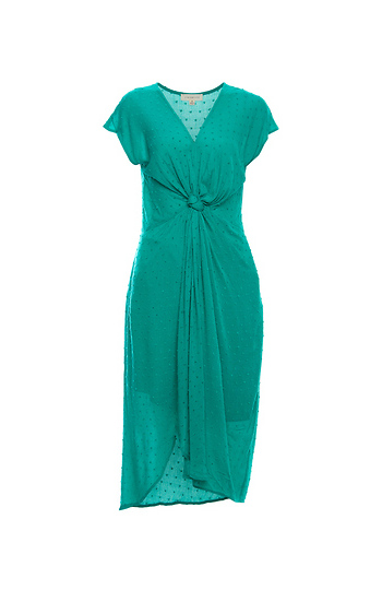 Draped Front Knot Short Sleeve Dress Slide 1