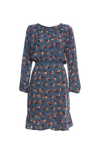 Long Sleeve Print Dress with Ruffle Hem Slide 1