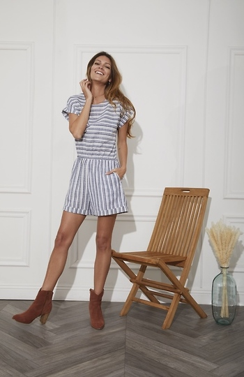 Short Dolman Striped Romper Slide 1