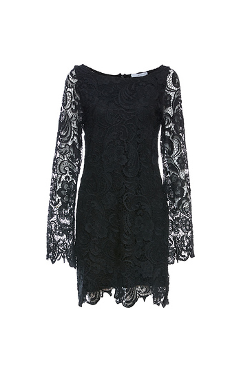 Lace Long Sleeve Shift Dress Slide 1