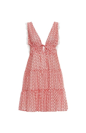 WAYF Leanne Ruffle Hem Mini Dress Slide 1