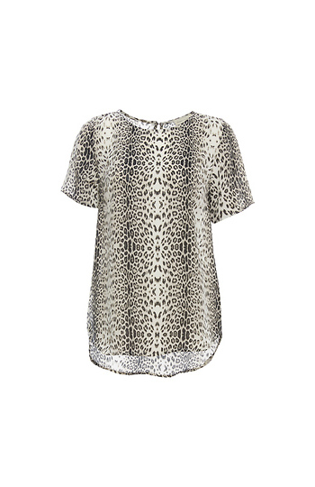 Round Neck Short Sleeve Printed Top Slide 1