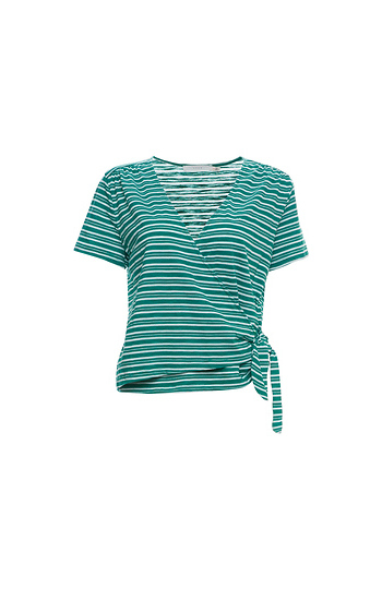 Surplice Wrap Striped Tee Slide 1
