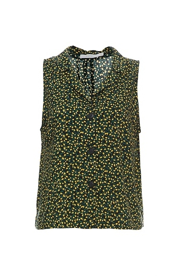 Buttoned Front Sleeveless Top Slide 1