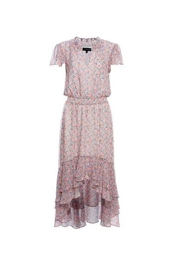 1.STATE Floral Mock Neck High Low Dress Slide 1