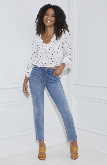Polka Dot Ruffle Blouse Slide 1