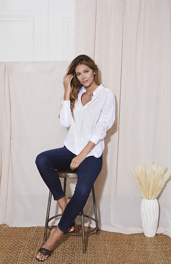 French Connection Split Neck Embroidered Shirt Slide 1