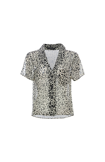 Buttoned Front Short Sleeve Printed Top Slide 1