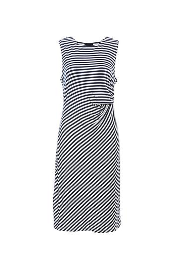 Striped Side Drape Dress Slide 1