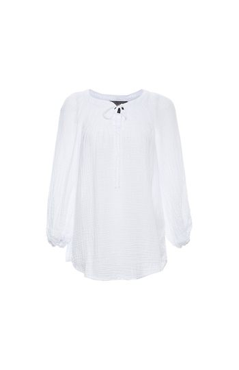 Michael Stars Peasant Top with Smocking Slide 1