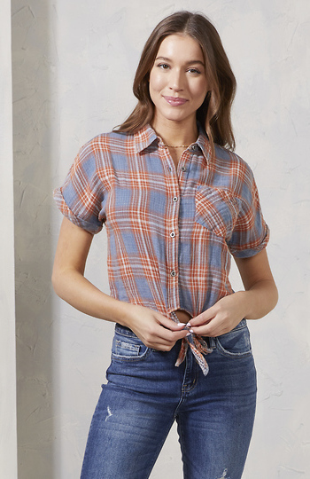 Short Sleeve Button Down Plaid Slide 1